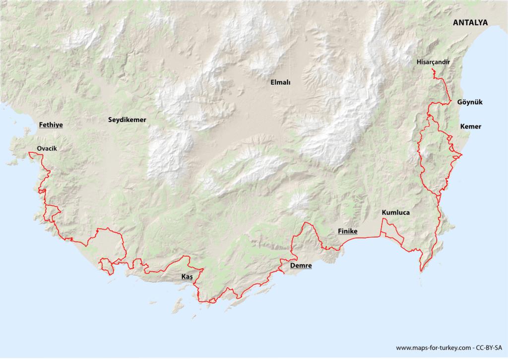 Ликийская тропа, карта